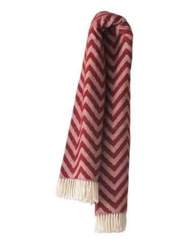 Burgundovočervený pléd s podielom bavlny Euromant Chevron, 140 × 160 cm
