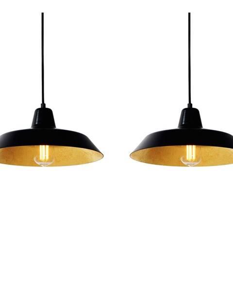 Bulb Attack Čierne závesné dvojramenné svietidlo s detailmi v medenej farbe Bulb Attack Cinco, ⌀ 85 cm