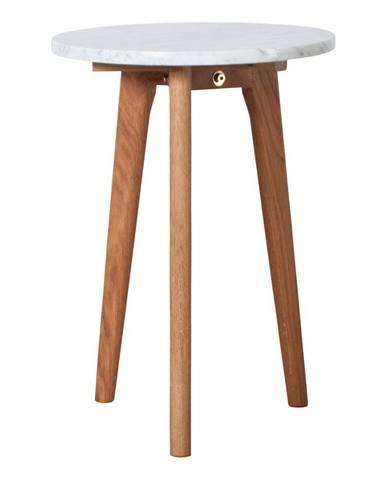 Odkladací stolík s doskou v dekore kameňa Zuiver, Ø32cm
