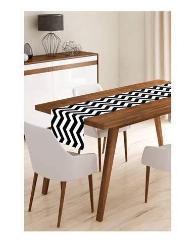 Behúň na stôl z mikrovlákna Minimalist Cushion Covers Black Stripes, 45×145 cm