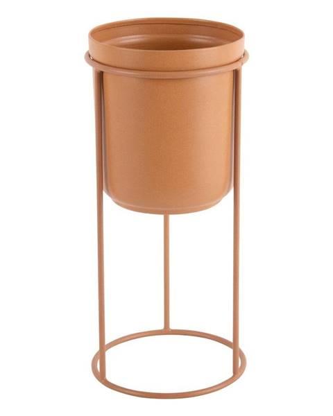 PT LIVING Karamelovohnedý kovový stojací kvetináč PT LIVING Tub, výška 32 cm