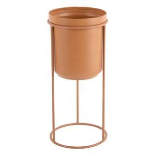 Karamelovohnedý kovový stojací kvetináč PT LIVING Tub, výška 32 cm