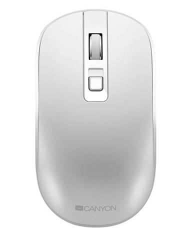 Myš  Canyon CNS-Cmsw18pw, tichá, bezdrátové nabíjení biela
