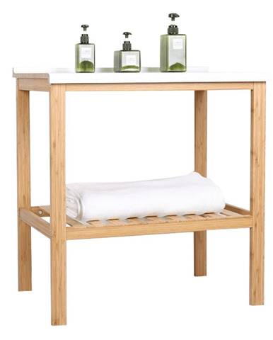 Stôl s policou prírodná/biela SELENE TYP 5