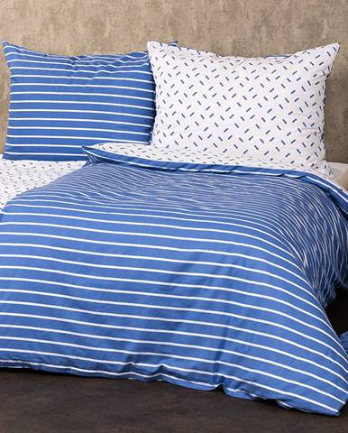 4Home Bavlnené obliečky Pruhy modrá, 140 x 200 cm, 70 x 90 cm