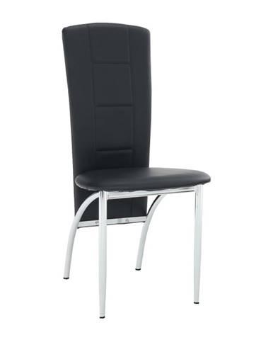 Stolička čierna ekokoža/chróm FINA