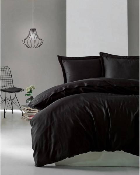 Cotton Box Čierne obliečky z bavlneného saténu Cotton Box Elegant, 200 x 200 cm