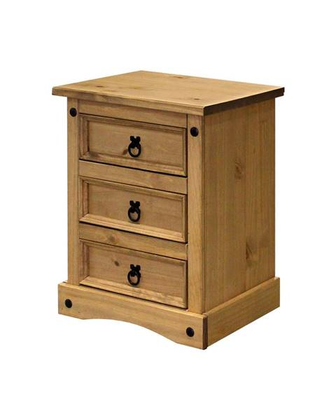 IDEA Nábytok Nočný stolík 3 zásuvky CORONA vosk
