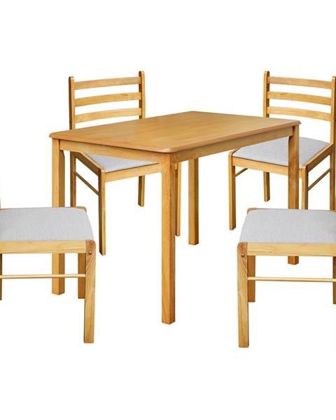 IDEA Nábytok Stôl + 4 stoličky FARO lak javor