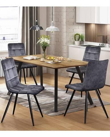 Jedálenský stôl BERGEN dub + 4 stoličky BERGEN sivý zamat