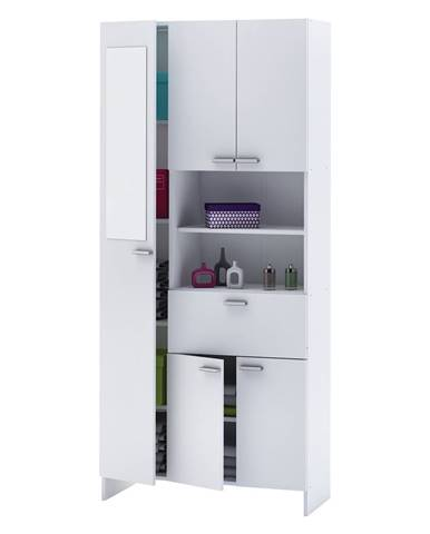 Vysoká skrinka 1+4 dvere + 1 zásuvka KORAL biela