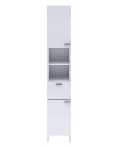 Vysoká skrinka 2 dvere + 1 zásuvka KORAL biela