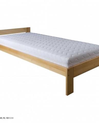 Drewmax Jednolôžková posteľ - masív LK184 | 90 cm buk