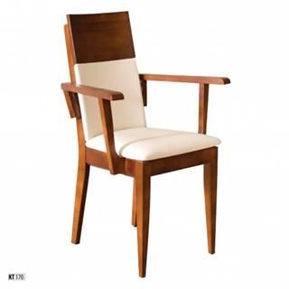 Drewmax Jedálenská stolička - masív KT170 | buk / koža