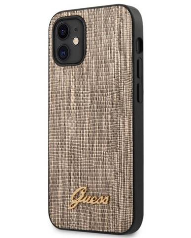 Kryt na mobil Guess Lizard na Apple iPhone 12 mini zlatý