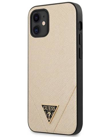 Kryt na mobil Guess Saffiano V Stitch na Apple iPhone 12 mini zlatý