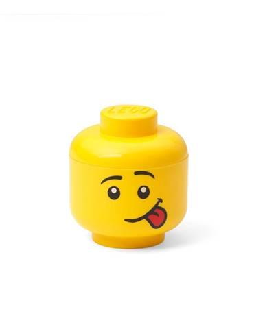 Žltá úložná škatuľa v tvare hlavy LEGO® silly, 10,5x10,6x12cm