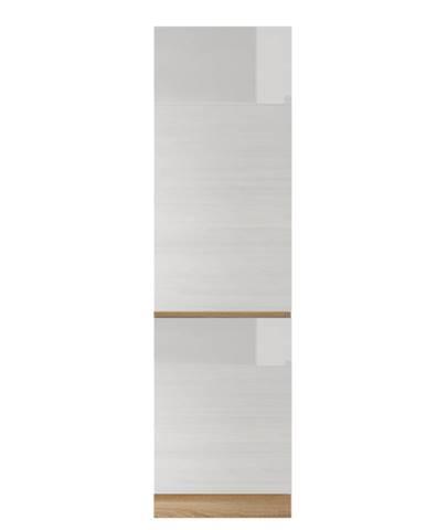 Potravinová skrinka D 60 vysoký biely lesk/dub sonoma LINE