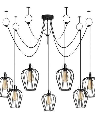 Čierne závesné svietidlo pre 6 žiaroviek Opviq lights Tel