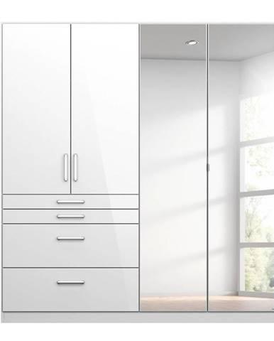Šatníková skriňa HAYDEN biela vysoký lesk, 4-dverová so zrkadlom
