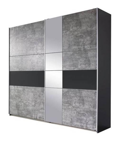 Sconto Šatníková skriňa CADENCE beton/antracitová, šírka 218 cm