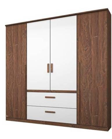 Šatníková skriňa GABRIELLE dub stirling/alpská biela, 4 dvere, 2 zásuvky