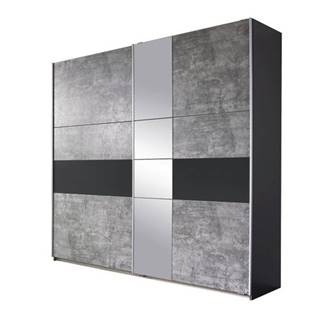 Šatníková skriňa CADENCE beton/antracitová, šírka 218 cm