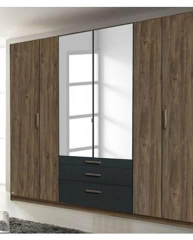 Šatníková skriňa Mosbach, dub stirling/šedá, otočné dvere%