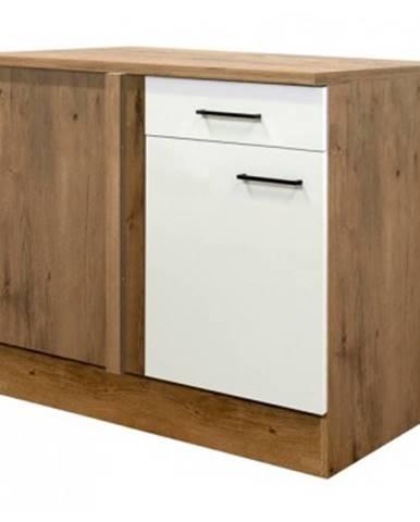 Dolná rohová kuchynská skrinka Avila UEBE110, dub lancelot/krémová, šírka 110 cm%