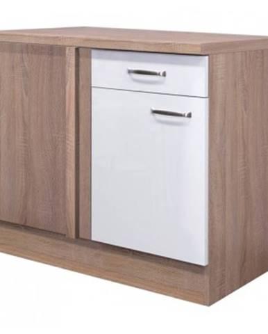 Dolná rohová kuchynská skrinka Valero UEBE110, dub sonoma/biely lesk, šírka 110 cm%
