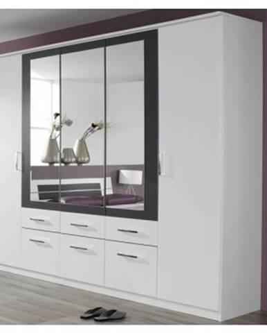 Šatníková skriňa Burano, 225 cm, biela/sivá%