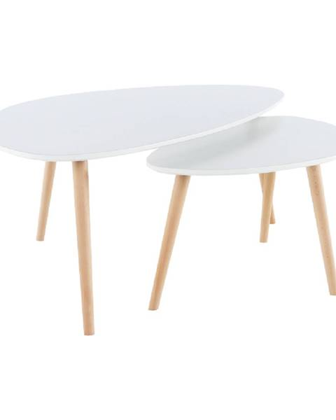 Tempo Kondela Set 2 konferenčných stolíkov  biela/buk FOLKO NEW