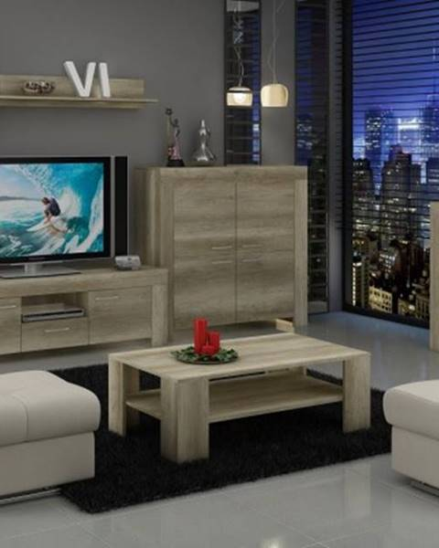 OKAY nábytok Sky - Obývacia stena, 2x komoda, stolík, svetlo