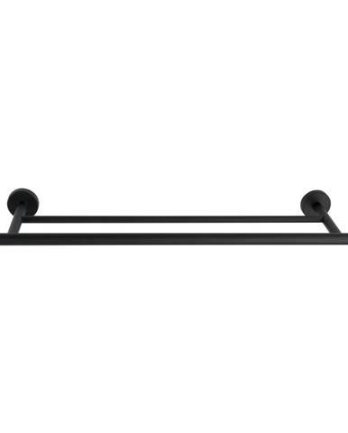 Čierny antikoro dvojitý nástenný držiak na uteráky Wenko Bosio Rail Duo