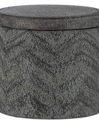 Sivý ručne maľovaný keramický úložný box Wenko Mantua, ⌀ 10,3 cm