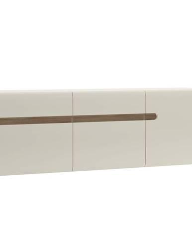 Visiaca skrinka biela extra vysoký lesk HG/dub sonoma tmavý truflový LYNATET TYP 67