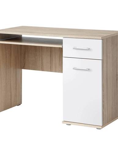 PC stôl dub sonoma/biela EMIO Typ 6 poškodený tovar