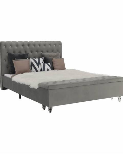 Tempo Kondela Posteľ s lavicou sivá látka Velvet 160x200 ANGALA rozbalený tovar