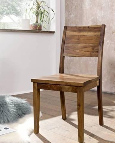 ROUND Stolička drevená plné operadlo, hnedá, palisander