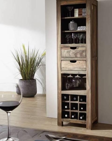 Bighome.sk GREY WOOD Regál na víno 180x50 cm, palisander