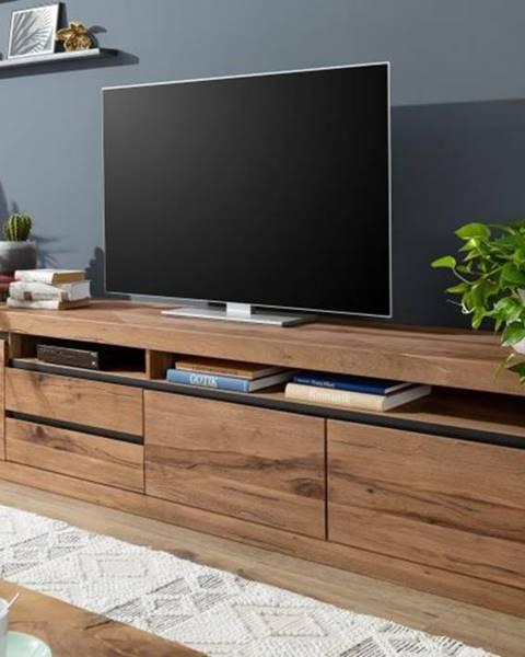 Bighome.sk VEVEY TV stolík 260x60 cm, tmavohnedá, dub