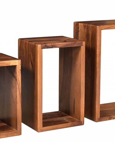 MONTREAL Nástenný regál set 30x45 cm, hnedá, palisander