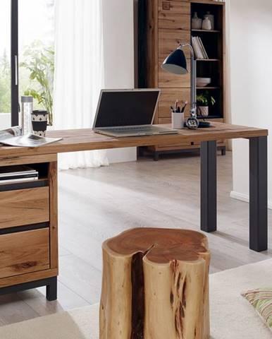 TIROL Písací stôl s poličkou 150x55 cm, tmavohnedá, dub