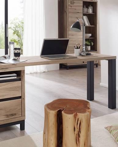 TIROL Písací stôl s poličkou 220x55 cm, svetlohnedá, dub