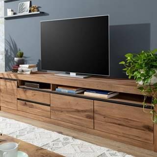VEVEY TV stolík 260x60 cm, tmavohnedá, dub