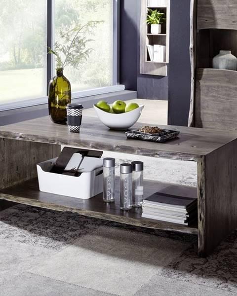 Bighome.sk WOODLAND Konferenčný stolík s poličkou 120x60 cm, sivá, akácia