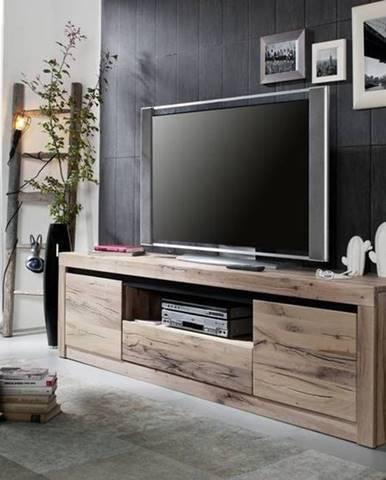 VEVEY TV stolík 202x55 cm, svetlohnedá, dub