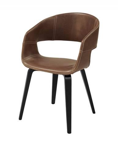 Jedálenská stolička s opierkami NOVA, hnedá