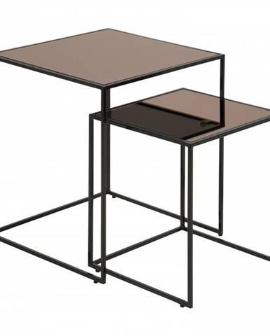 Set konferenčných stolíkov BOLTON, čierna, hnedá