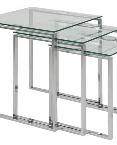 Set konferenčných stolíkov KATRINE, číra, strieborná